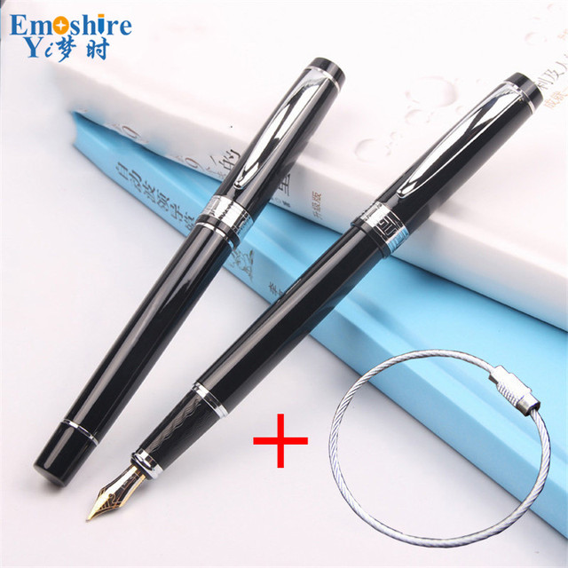 Metal MB Fountain Pen Gift Fountain Pen Stainless Steel Bead Wire Rope Key Ring Fountain Pen Keychain Stationery Students P353