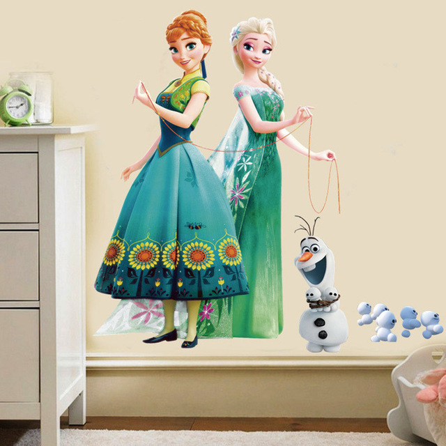 Fashion Cartoon Elsa Anna wall sticker For girl Children room-Free Shipping 3D Wall Stickers For Kids Rooms