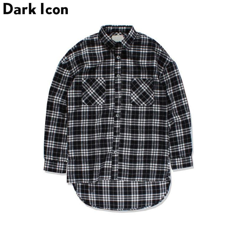 Black white plaid flannel shirt men long sleeve 2017 for Long plaid flannel shirt