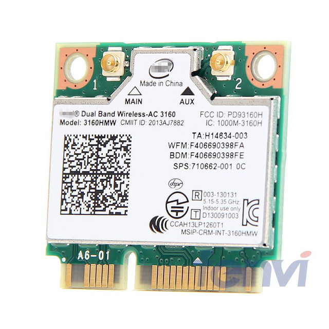 Для двухдиапазонной беспроводной сетевой  Intel 3160 3160HMW 802.11ac Wi-Fi + Bluetooth 4.0 Mini PCI-E карты 2.4G и 5 ГГц 802.11a / B / G / N / AC