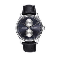 43mm Parnis Automatic Movement Power Reserve Black Dial Men's Watch