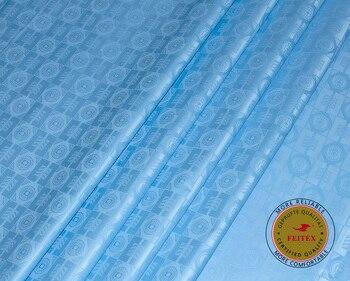 671369850 Nueva llegada Guinea Brocade tela de algodón 100 algodón azul cielo Bazin  Riche Getzner 2018 Africana Bazin Riche tela de calidad superior de 10  yarda/lote