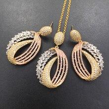 Lanyika conjunto de joyería elegante Neoteric artística circón circular Micro plateado collar con pendientes aniversario nupcial mejor regalo