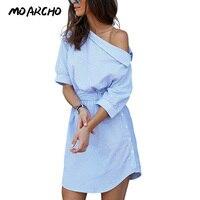 2016 Fashion One Shoulder Blue Striped Women Dress Shirt Sexy Side Split Elegant Half Sleeve Waistband