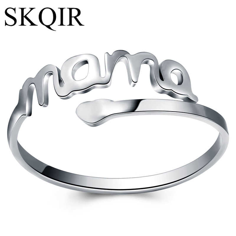 Vintage Silver Heart Love MAMA Rings Stainless Steel Cuff Open Adjustable Ring Women Jewelry for Mom Birthday Mother's Day Gift