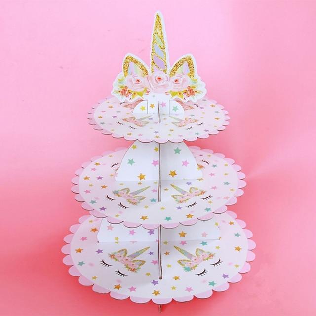 1 adet Unicorn kek standı üç katmanlar Unicorn doğum günü partisi malzemeleri tatlı standları düğün parti iyilik