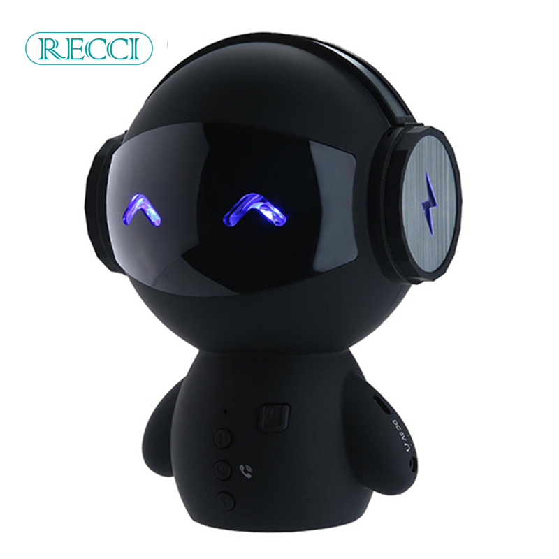 Intelligent Mini Robot Bluetooth BT Speaker Smart-robot Cute Portable BT-speaker with CSR3. Bass TF AUX And Power Bank Function remax h1 desktop speaker leather straps power bank mini portable speaker rb h1 hifi box and 8800mah power bank 2 in 1 function