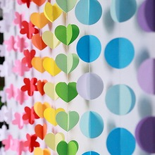 3m Colorful 3D Round Heart Paper Garlands Christmas Wedding Party Banner Hanging Garland Room Decoration
