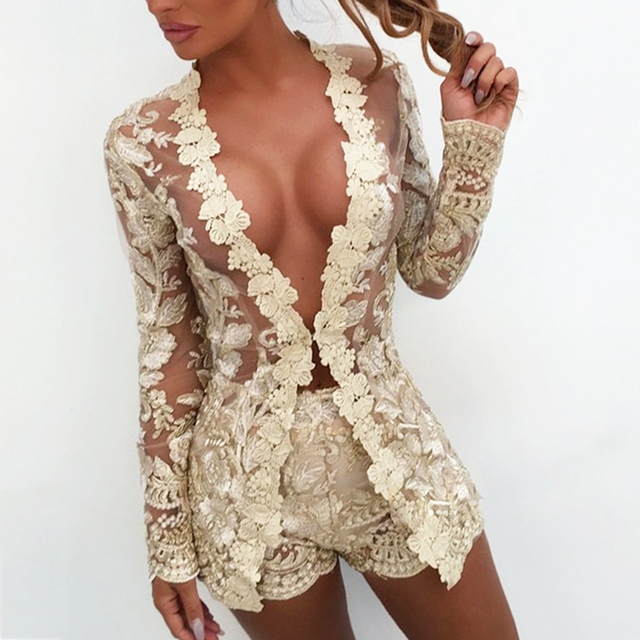women Floral Lace Embroidery Overall suits women Long sleeve Two Piece set Women sexy v neck Transparent Mesh Elegant outfits