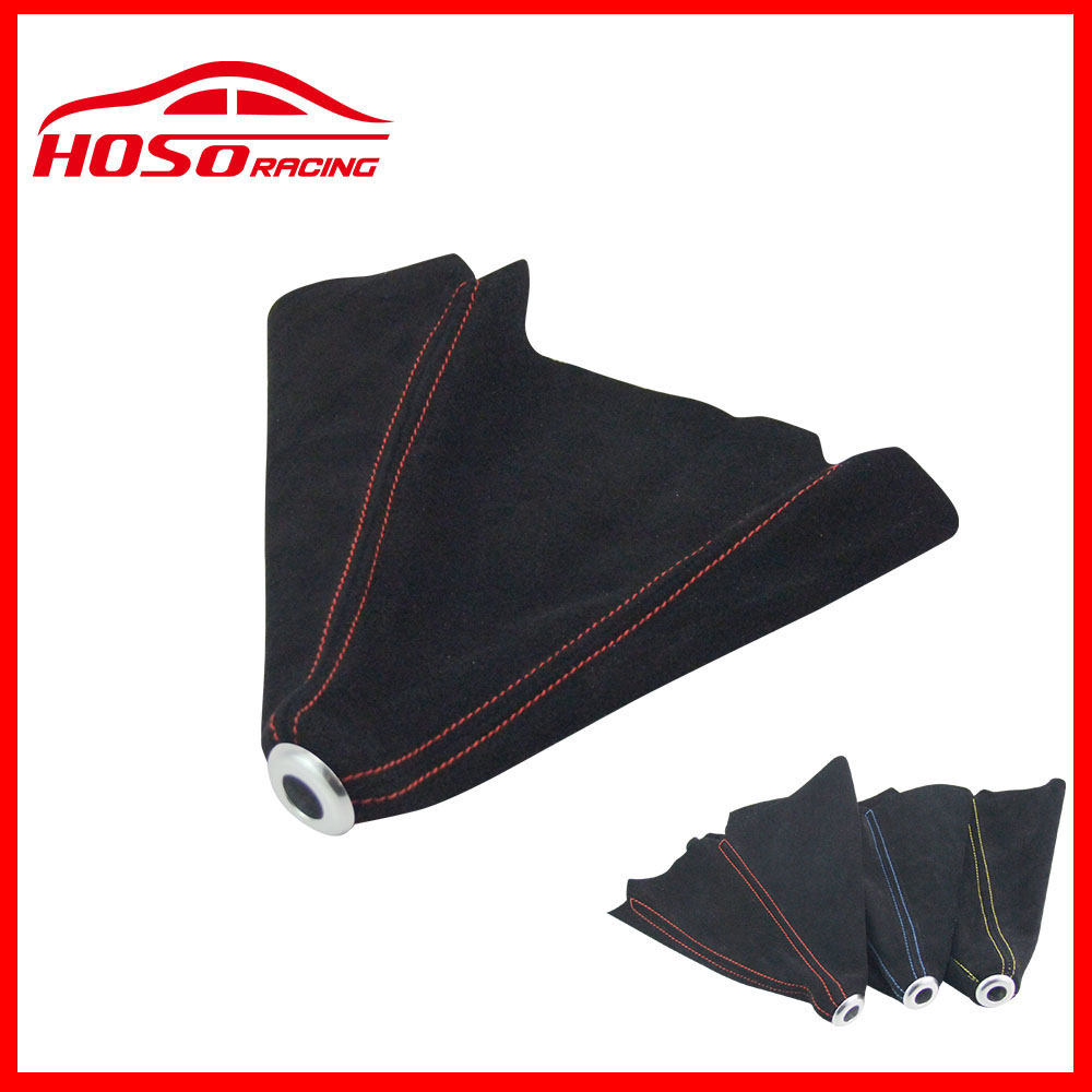 AUTOFAB - Universal JDM Black Suede Shift Boot For M/T Manual Shift Gear Cover Shifter Stitch For Honda Civic J 99-00