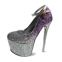 Women Elegant Pink Purple Rhinestone Crystal Wedding Bridal Platform 6 5 Inches Extreme High Heels Prom