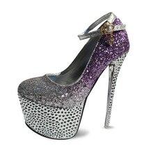 Женщины элегантный розовый фиолетовый rhinestone кристаллическое свадебные платформы 6.5 дюйм(ов) экстремальные высокие каблуки выпускного вечера нагнетает ботинки женщина F10