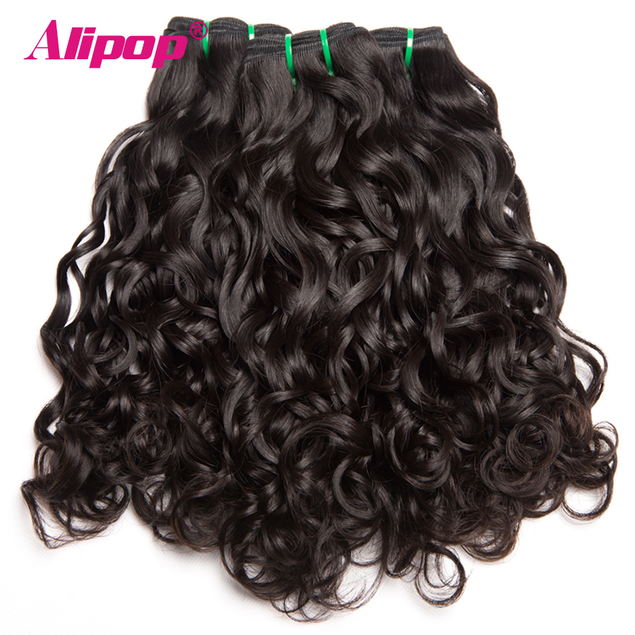 4 Bundles Brazilian Hair Water Wave Human Hair Bundles Deal Remy Hair Extensions ALIPOP Wet and