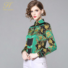 H Han Queen 2019 new arrived fashion women blouse long sleeved printed women top blouses slim fit office lady Blusas(China)