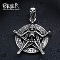 Unique Five Star Skull Pendant Necklace For Man Stainless Steel Unique Skull Jewelry BP8-182