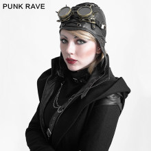 PUNK RAVE Steampunk Military Fashion Leder Schwarz Cosplay Aviator Bomber Caps Kühle Pilot Hut(China)
