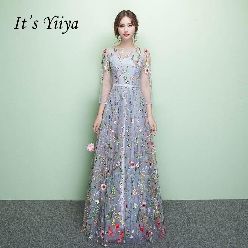It's Yiiya Evening Dresses Floral Illusion Backless Print Zipper A-line Floor Length Evening Gowns LX030 Abiye Gece Elbisesi