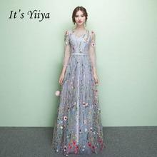 Its Yiiya Evening Dresses Floral Illusion Backless Print Zipper A-line Floor Length Gowns LX030 abiye gece elbisesi