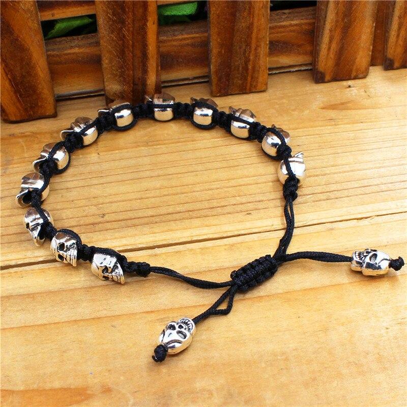 Sonrisa esqueleto cráneo pulseras Strand Vintage Boho antiguo plata tejida cuerda hecha a mano artesanía moda joyería 2