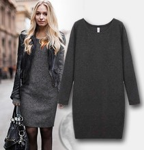 Woking Autumn Winter Dress Cotton Cashmere Long Sleeve Women Warm Clothing Under Big Size XXXL dress