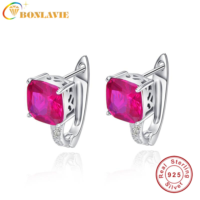 Bonlavie Exquisite Rose Red Ruby Earrings 3 55g Ear Cuff Real Pure 925 Sterling Silver Clip