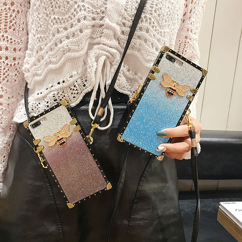 Fashion Phone Case For iPhone 6 6s 7 8 Plus X XS Max XR Back Cover Rivet Square Bling Gradient Glitter Lanyard Case Coque in Fitted Cases from Cellphones Telecommunications