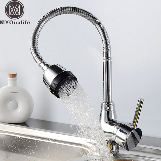 Free Shipping Spring Kitchen Faucet Flexible Neck Hot And