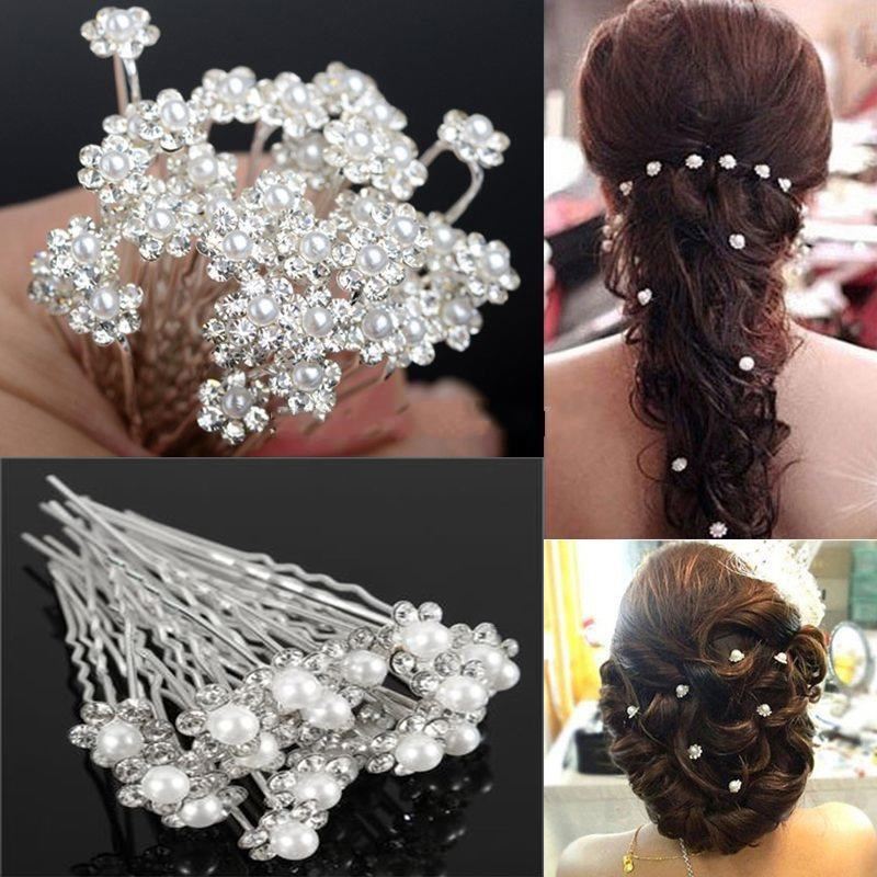 fashion women silver wedding pearls hairpins crystal vine bridal head wear hair accessories diamond headpiece 20Pcs Fashion Crystal Pearl Wedding Hair Pins Flower Bridal Hairpins Bridesmaid Hair Clips Hair Accessories For Women Barrettes