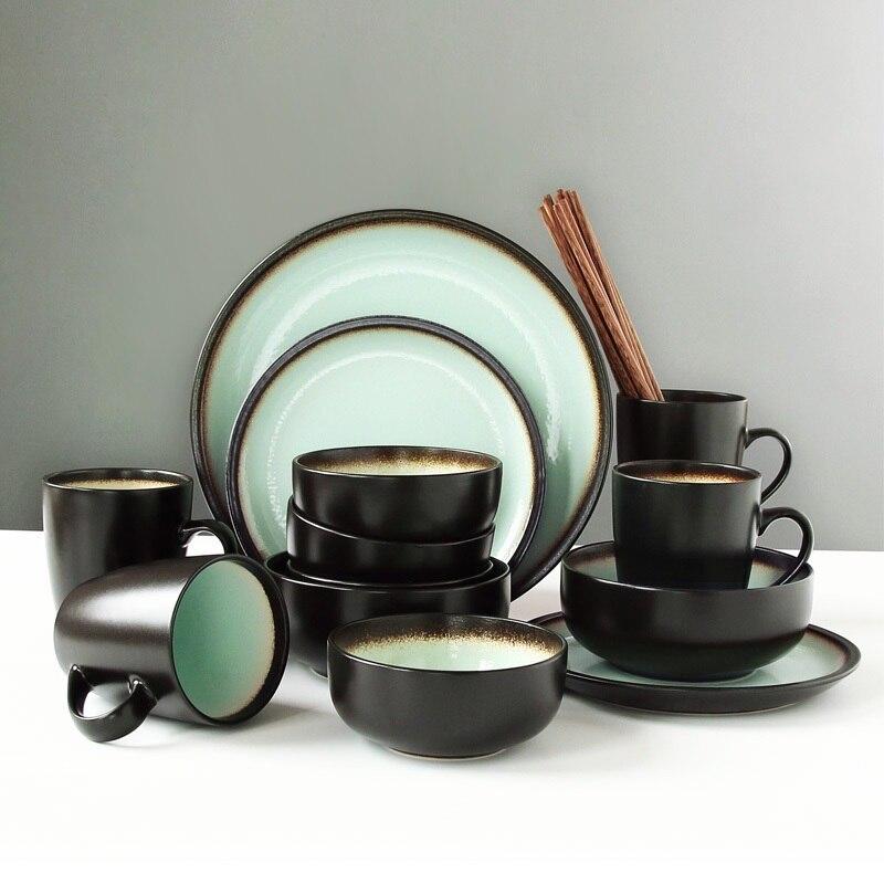 Nórdico 4 pessoas comem antigo conjuntos de louça pratos tigela personalizado criativo tigelas de macarrão de arroz, pratos de cerâmica