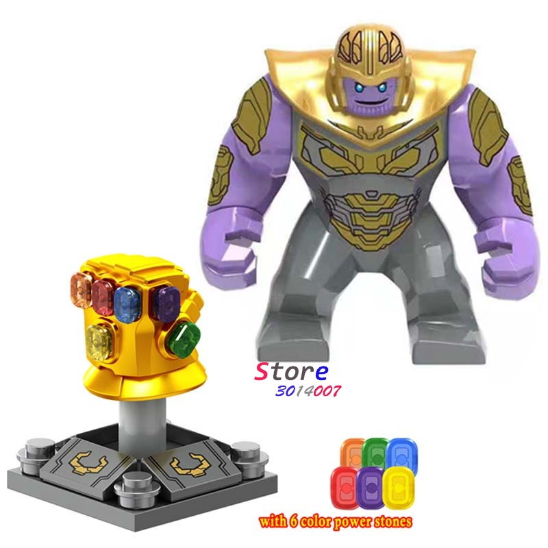 50pcs Super Hero Thanos Infinity Gauntlet with 6 gemstones Marvel Avengers 4 Endgame Hulk building block