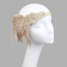 Vintage Feather Headband 1920s Headpiece Headdress Beige Black Diamond Hiar Band For Carnival Hen Party Event
