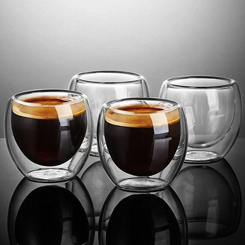 Novo 1/4/6 pces parede dupla tiro copo de café espresso de vidro parede dupla 80 ml/250 ml/350 ml/450 ml