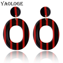 YAOLOGE Fashion Ellipses Stripes Acrylic Earrings Multicolored Exaggerated Jewelry Vintage Statement For Female Accessories