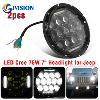 7 INCH 75W Daymaker Projector LED Headlight Assembly For Jeep Wrangler JK Hummer Headlamp H4 H13