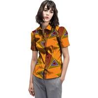 Leisure Personal Tailor Women African Print Dashiki Clothes Turndown Collar Ladies Short Sleeve Shirts Africa Clothing