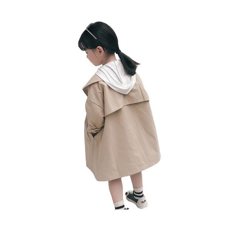 Dfxd England Stil Kinder Mädchen Khaki Baumwolle Langarm Zweireiher Graben Mantel Neue Herbst Mädchen Mode Outwear 2-8years