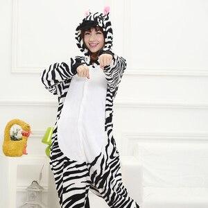 Image 3 - Adult Yellow Stripe Cartoon Kigurumi Cosplay Costume Kid Winter Animal Jumpsuit Boy Anime Flannel Onesie Pajamas Sleepwear Girl