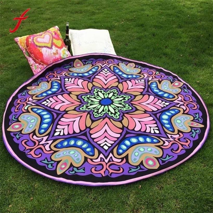 Specical Round Indian Elephant Beach Towel Cover Up Bikini Boho Summer Dress Swimwear Bathing Suit Mandala Tapestry Yoga Mat