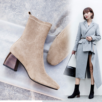 Vangull Women Boots British style flock velvet stretch boots casual fashion internal leather European and American all match