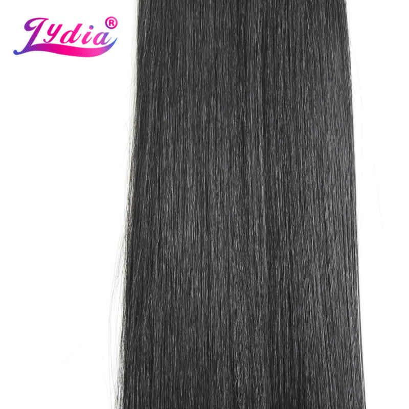 """Лидия для женщин, Длинные прямые синтетические волосы, пряди 18 """"-26"""", натуральный цвет, волосы оптом, вязанные крючком, крючок с защелкой, синтетические волосы для наращивания"""