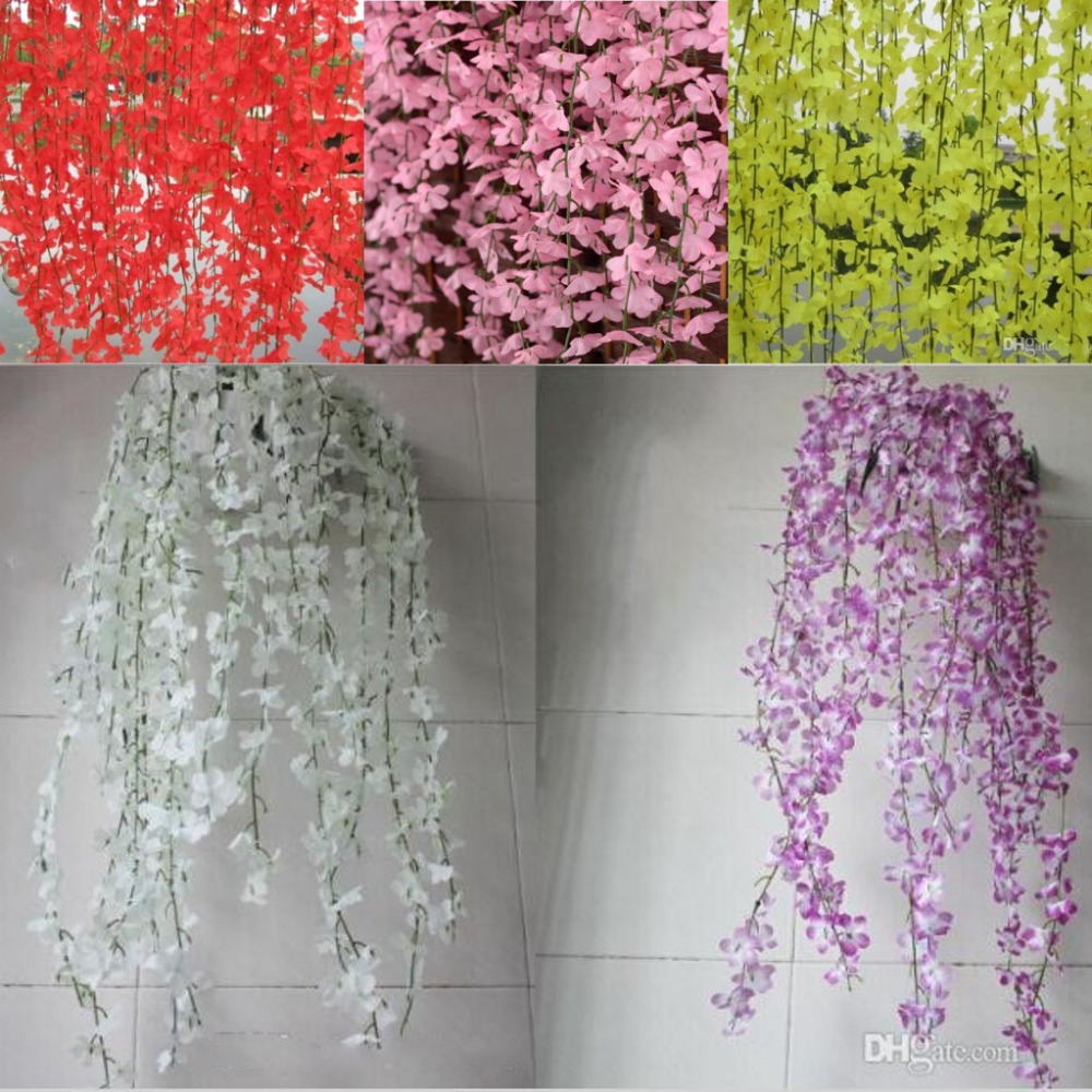 Online buy wholesale pink silk cherry blossoms from china pink white red pink purple yellow artificial cherry blossom silk flower vine wall hanging wisteria for home dhlflorist Image collections
