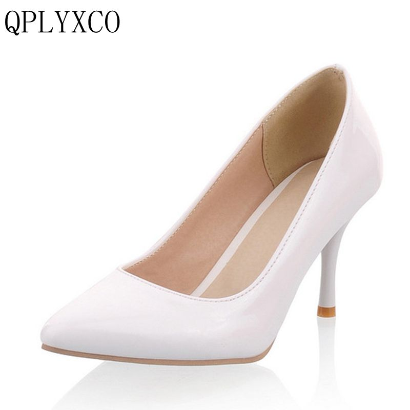 QPLYXCO 2017 New Sale ladys Big Size 30-47 shoes  Women Pumps Fashion Sexy High Heels Shoes Party Wedding Pointed Toe shoes A-3 big size 40 41 42 women pumps 11 cm thin heels fashion beautiful pointy toe spell color sexy shoes discount sale free shipping