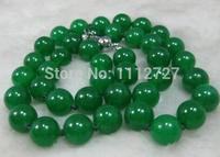 Accessorio di moda artigianato parti Calcedonio pietra 12mm verde collana 18 inch beads Monili che fanno commercio all'ingrosso di disegno palle
