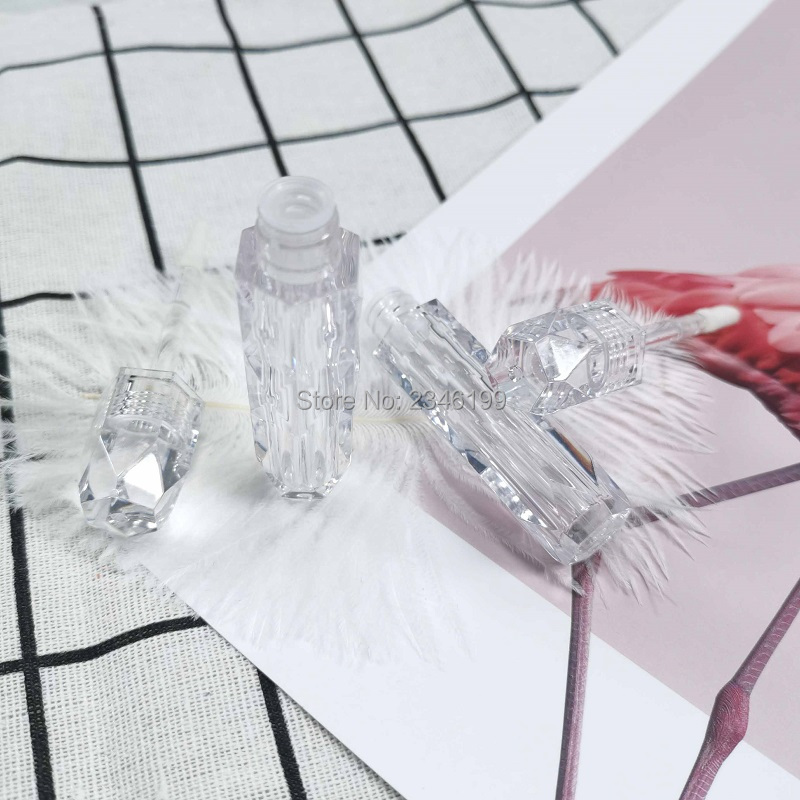 Clear Lip Gloss Tube Empty Packaging DIY Plastic Diamond Lip Gloss Bottle Cosmetic Lipgloss Container 25 Pieces