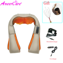 electrical shiatsu massager Body Shoulder Neck Massager Back Spa Infrared kneading Massagem Car Home  shawl
