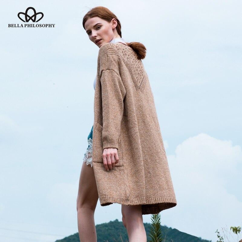 Bella Philosophy 2018 ženy podzim zima nový zadní háčkovaný svetr s dlouhými svetry s kapsami khaki šedého námořnictva