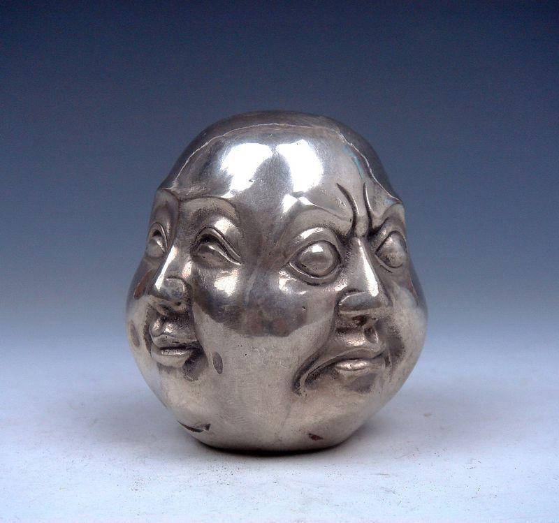 Исцеление Медицина тибетское серебро Медь Рука-резные 4 Erawan статуя украшения сада 100% Настоящее Тибетский серебро латунь