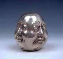 Healing Medicine Tibetan Silver Copper Hand-Carved 4 Erawan Statue Garden Decoration 100% real Brass