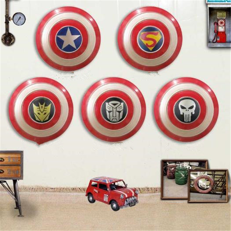 Halloween Cosplay Captain America Frank Castle Industrial Windshield Shield Vintage Wall Bar Decoration Men and Women Applicable