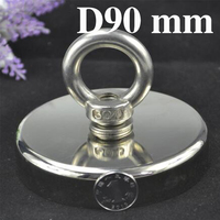 1pc N52 D90 Neodymium magnet super strong powerful salvage hook fishing Magnet Circular Ring permanent holder deap sea equipment